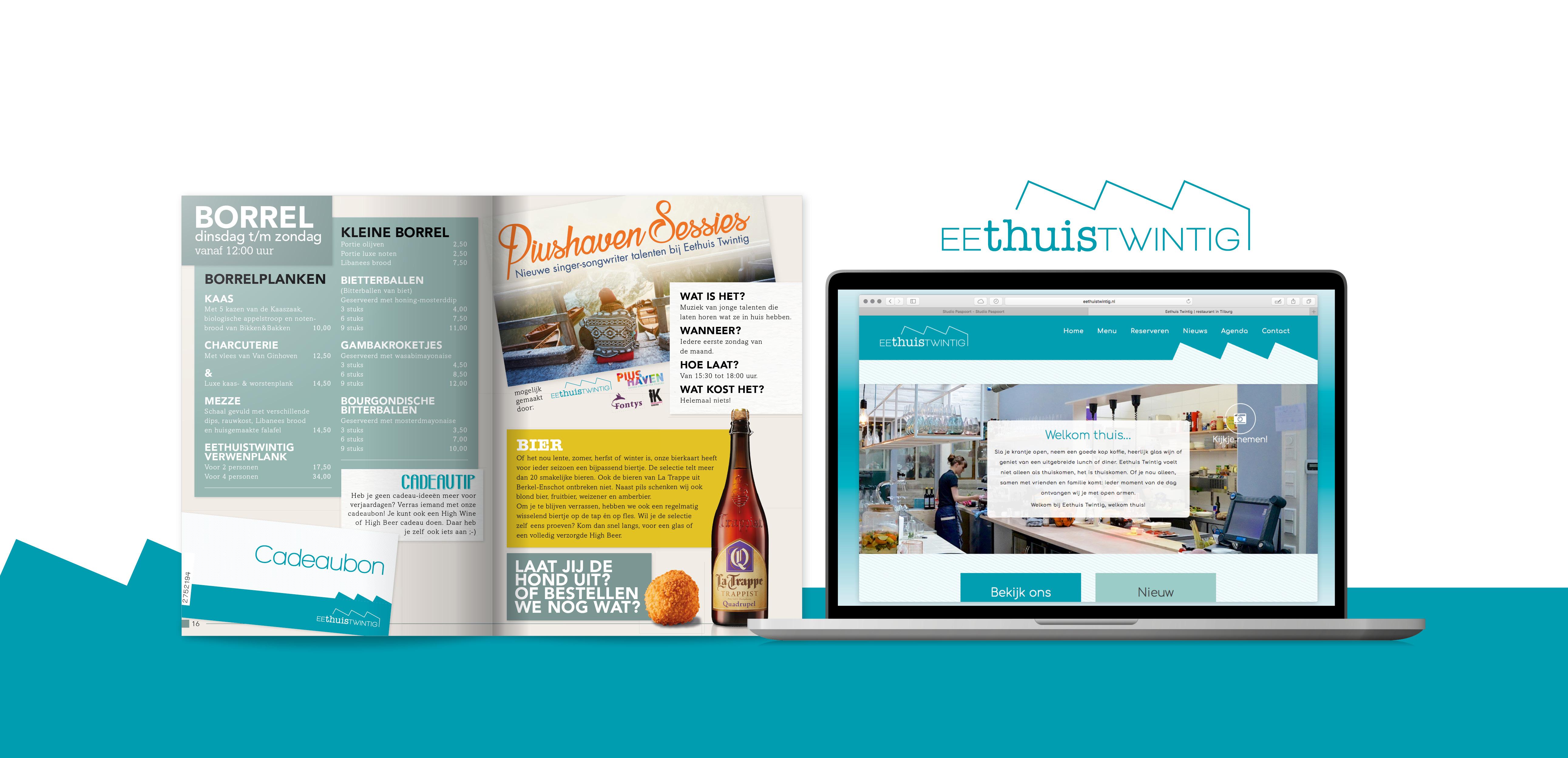 Menu en Website ontworpen voor EethuisTwintig